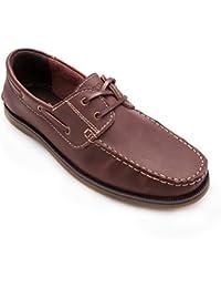 Zerimar Zapatos Náuticos de Piel Para Hombre Náuticos con Cordones Para Hombre