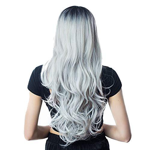 Gemischt Aschblond Mittel Teil lange gewellte Perücke Hochtemperatur natürliche Haar-Welle synthetische Perücke Glueless-Fälschungs-Haar-in Synthetic None, Ombre Gray, 26inches (Shag Perücke Kostüm)