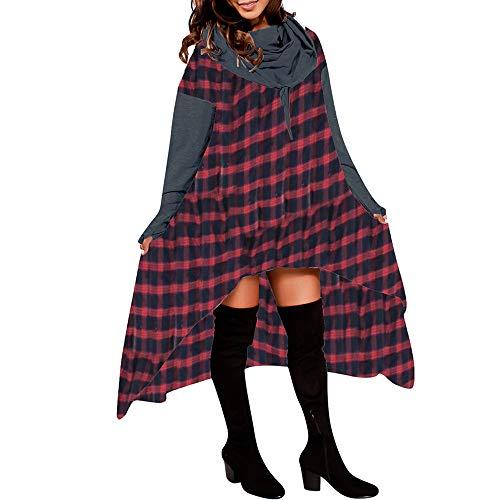 Preisvergleich Produktbild Sannysis Damen Pullover Langarmshirt Elegant Frauen Lose Hoodie Lange Kapuzenoberteile Damen Sweatshirt Pullover Asymmetrische Bluse