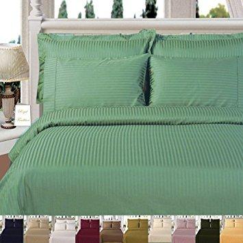 Royal Hotel Gestreifte 300fach Count 3pc Duvet-Cover 100 Prozent Baumwolle, Satin Gestreiftes, 100% Cotton Salbei Full/Königin -