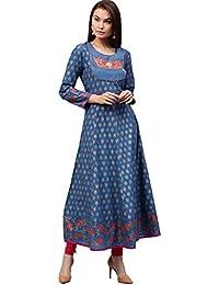 Jaipur Kurti Women's Cotton Kalidaar Embroidered Long Kurta With Gold Print & Tassels (Blue)