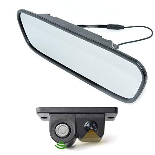"WEPECULIOR Auto Parkassistent System Kit, 5""Farbe TFT LCD Auto Video Spiegel Monitor mit 2 in 1 Auto Rückfahrkamera Radarwarner Sensoren Auto Rückfahrkamera"