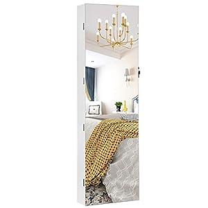 SONGMICS Schmuckschrank hängend, Spiegelschrank mit LED-Innenbeleuchtung, Wandschrank mit Ganzkörperspiegel, Wandmontage, an der Tür hängend, Geschenk, weiß JJC99WT