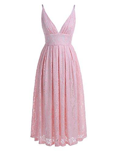 BeryLove Damen V-Ausschnitt Spaghetti-Trägern Spitze Kleid Cocktailkleid BLP7010PinkXL (V-ausschnitt Spitze Spaghetti)