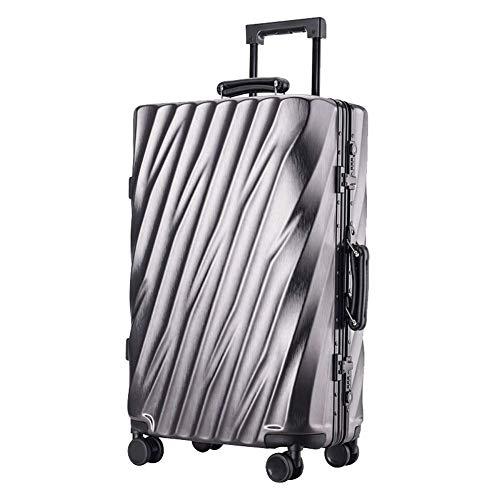 YUNY 24 Zoll ABS Hartschalenkoffer Reisetrolley Koffer 4 Räder leicht TSA-Zollschloss Business Reisetrolley Koffer schwarz, Grau -