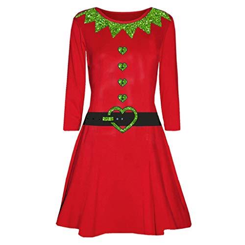 Preisvergleich Produktbild Luckycat Damen Weihnachten Gedrucktes Langarms Hülsen Abend Abschlussball Kostüm Schwingenkleid Abendkleider Cocktailkleid Partykleider Blusenkleid Mode 2018