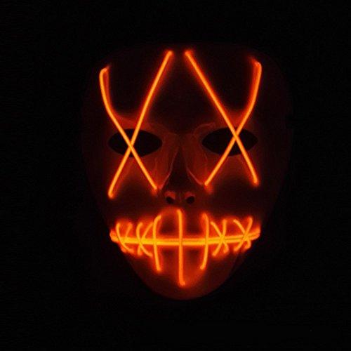 Preisvergleich Produktbild SUNREEK Halloween Scary Maske,  Halloween Cosplay LED Kostüm Maske EL Draht Licht Maske für Halloween,  Festival Parteien (Rot)