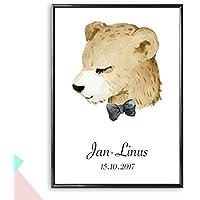 Personalisiertes Bild Bär mit Fliege mit oder ohne Rahmen   Babygeschenke zur Taufe oder Geburt   Kinderzimmer Poster