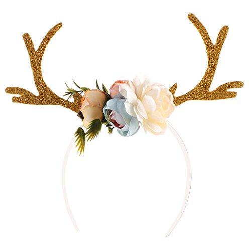 Gazechimp Erwachsene Kinder Weihnachten Blumen Geweihe Kostüm Haarreif Haarband - (Kostüme Erwachsene Hirsch Für)