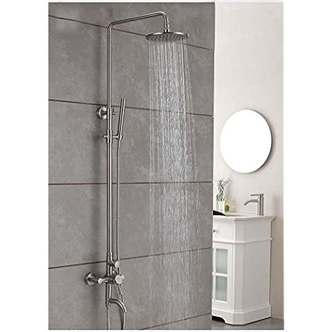 CAC Acciaio inossidabile doppio soffione della doccia girevole ascensore singolo controllo doccia doppio