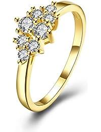 YAZILIND joyería de 18 quilates chapado en oro cubic zirconia brillante elegante simple anillo de las mujeres para el partido de la boda