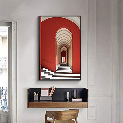 WSNDGWS Puerta en la Puerta Porche de Estilo Europeo Pintura Decorativa Luz Línea Sala de Estar Pasillos Pinturas Sin Marco D2 40x80cm