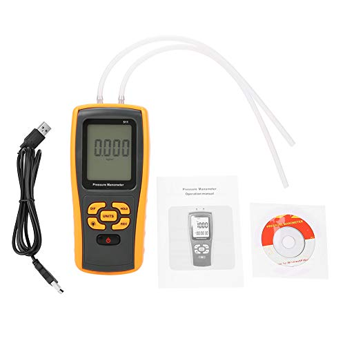 Akozon Druckmessgerät GM511 Digital ± 10KPa USB Differenzdruckmessgerät Manometer Tester Manometer Differenzdruckgasprüfgerät Winddruckmessgerät Luftdruckmessgerät Data Hold
