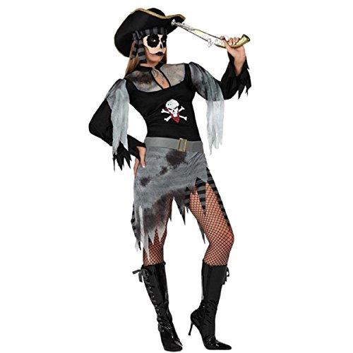 Mela Proibita - reizvolle Kostüme Pirat Frau Halloween Karneval Zombie Gespenst Verkleidung - grau, (Zombie D'halloween Kostüm)