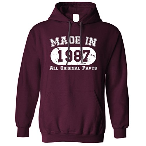 Made in 1987 All Original Parts (Distressed Design) 30th Birthday Thirtieth [2017 Edition] Hoodie Cool Funny Gift Present Unisex Fit