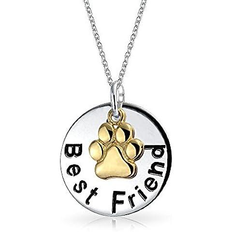 Bling Jewelry Argento migliore amico messaggio zampa del cane fascino cerchio collana pendente incisione gratuita