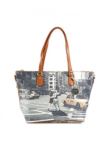 Y NOT? - Borsa donna shopper con manici tracolla shopping media new york walk in n.y.