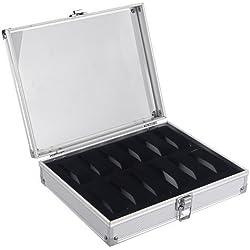 SODIAL (R) Aluminium 12 Armbanduhr Uhr-Karte Case-Anzeigen-Speicher-Box