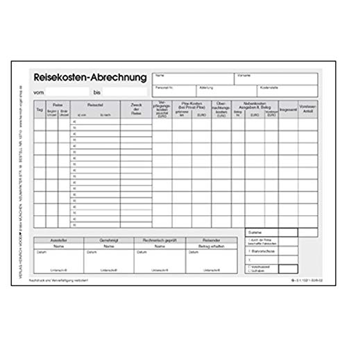 Reisekostenabrechnung DIN A5 50 Seiten Abrechnung Personal-Formulare