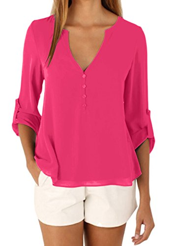 OMZIN Damen Casual Chiffon Sommer Bluse V-Ausschnitt Langarm Top Shirts Rosa XXL