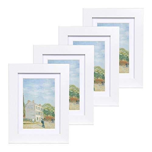 Muzilife Bilderrahmen 4er Set mit Glasscheibe Fotorahmen für Portrait/Galerie mit Passepartout 8x13cm ohne Passepartout 10x15cm (Weiß) - 10x8 Bilderrahmen,