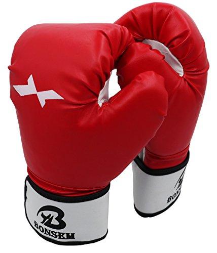Boxhandschuhe - Heavy Sandbags Sparring Muay Thai Kickboxen Kampfkunst MMA Training - Rote Leder Boxhandschuhe Damen