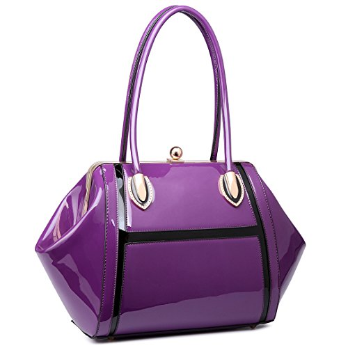 Miss LuLu Henkeltasche Handtasche Elegant Schultertasche Shopper Tote Bag Patent PU-Leder (Violett) (Leder-shopper Patent)