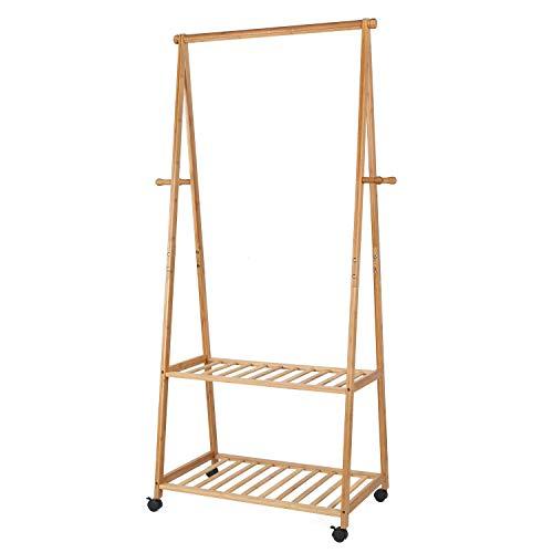 Homfa stand appendiabiti in bambù con 2 ripiani scarpiera con ruote, stender scaffale attaccapanni in legno carico 50kg, organizzatore guardaroba armadio casa (legno naturale)