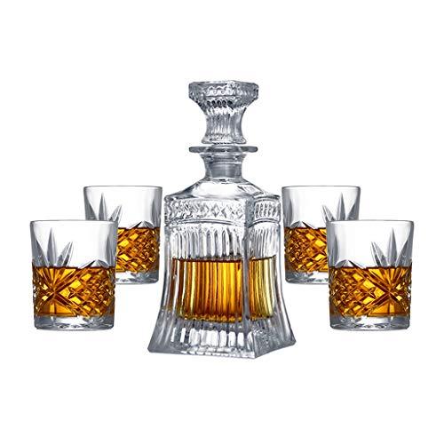 Creativo Cristal Decantadores De Cristal De Whisky Copa Copa De Vino De Cristal Bodega Conjunto De Cerveza Copa De Hogares Decanter Sistema, 1 Botella + 4 Copa De Vino Set