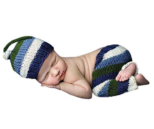Happy Cherry Neugeborenes Baby Foto Kostüm Fotografie Prop Handarbeit Bekleidungsset Fotoshooting Stricken Kostüm Baby Junge Trikot Foto Outfits Fotografie Requisiten Für 0-1 Monate - gestreift (Trikot Kostüm Für Jungen)