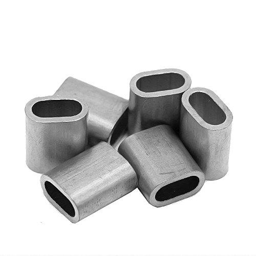 Constrabo® | 20x virolas de aluminio 5 mm | Férulas ovaladas según DIN EN 13411-3 (DIN 3093) | Manguitos de presión, casquillos de aluminio para cables de acero, abrazaderas y conectores de cable