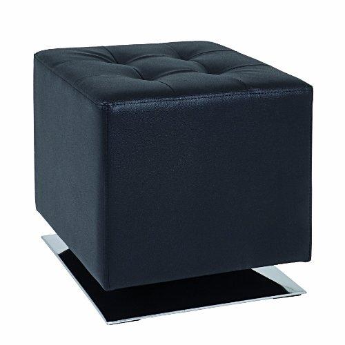 HAKU Möbel 30588 Hocker 40 x 40 x 42 cm, chrom / schwarz -