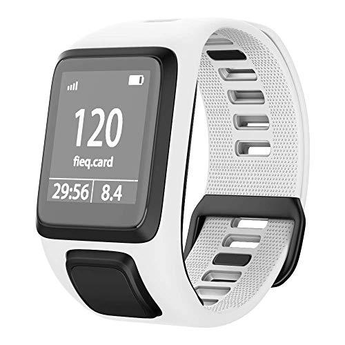 NotoCity Tomtom Runner 3 Armband/Runner 2/Spark 3/Adventurer/Golfer 2 Uhrenarmband Silikon Uhrenbänder für Tomtom Watch (Weiss)