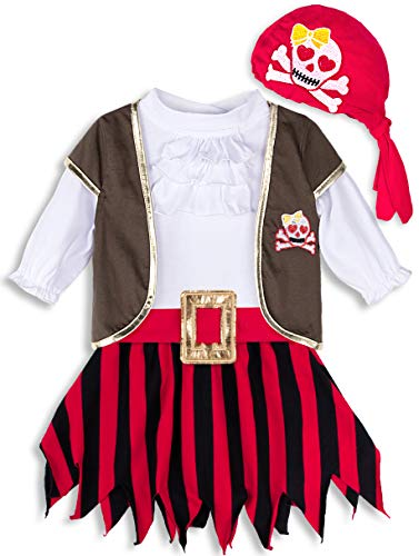 MOMBEBE COSLAND Disfraz Pirata Bebé Niñas (0-6 Meses, Rojo)