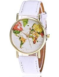 weant mujeres relojes correa de piel viajero Mapa del mundo globo esfera Retro Lady reloj funda analógico cuarzo reloj de pulsera para mujeres en venta
