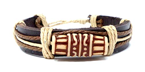 Evil Wear Armband Herren Damen Leder-Armbänder Handmade - Trommel weiss