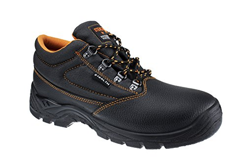 Stealth Mens Safety Boots Shoes Trainers Waterproof Leather w/Steel Toe Cap, Puncture Resistant Midsole & Energy Absorbing Heel for Work, Hiking,Sport, Construction, Road Workers, Bikers