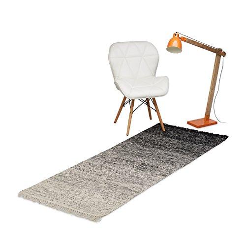Relaxdays Teppichläufer Flur 200 x 80 cm, handgewebter Läufer aus Baumwolle, Flachgewebe mit Farbverlauf, Schwarz