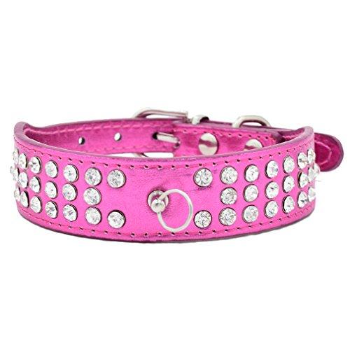Hundehalsband Halsbänder Bling PU Leder mit 3-Linie Strass O-Ring für Anhänger Rot Blau Lila Pink wählbar XS S für kleine Hunde Welpen Chihuahua, Rosa S (Teddy O-ring)