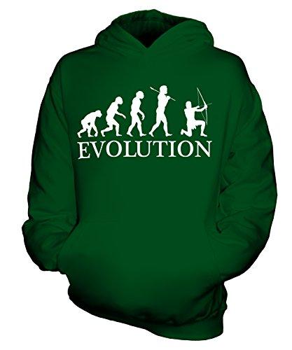 CandyMix Bogenschießen Bogenschütze Evolution Des Menschen Unisex Kinder Jungen/Mädchen Kapuzenpullover, Größe 1-2 Jahre, Farbe Flaschengrün