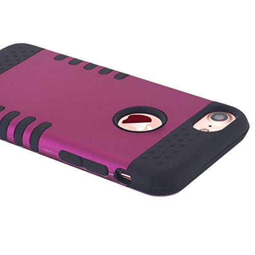 iPhone 7cellulare, iPhone 7Case, lontect 3Layer Hybrid Combo Silicone, morbida Interni plastica rigida Anti urti per cellulare borsa case cover per Apple iPhone 7 viola / nero