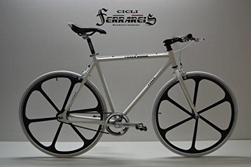 Cicli Ferrareis Bici Fixed 28 in Alluminio Single Speed Scatto Fisso Bianca Flip-Flop Razze Personalizzabile