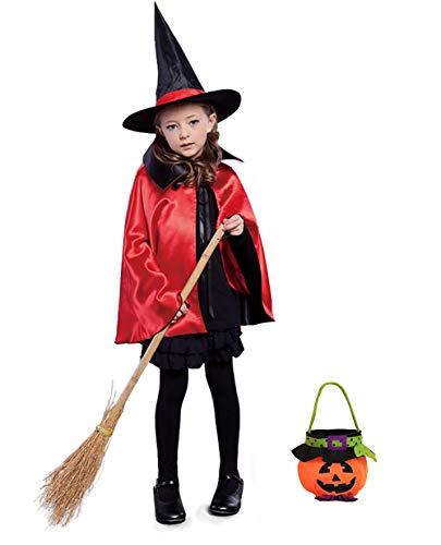 Shmily Girl Umhang mit Kapuze Hexenmantel schwarzer Karneval / Halloween-Kostüm (Kid, Hut+Umhang+Kürbistüte-Set ()