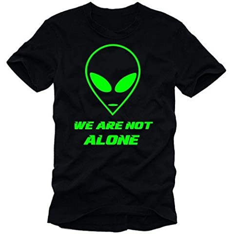We Are Not Alone. Tshirt noir vert fluo taille M