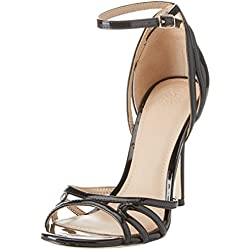 GUESS Footwear Dress Sandal, Zapatos con Tacon y Correa de Tobillo Para Mujer, Negro (Black)
