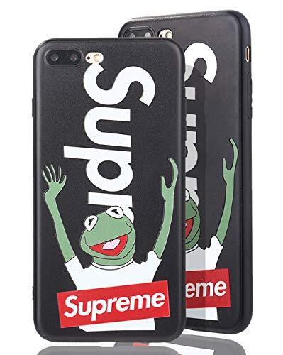 SUP Frog Case [ Passend für iPhone 7/8 Plus, in Schwarz ] Supreme x Kermit der Frosch Hülle - Fühlbares 3D-Motiv Cover