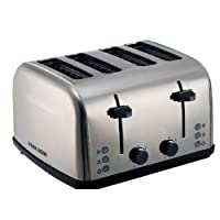 Black+Decker 4 Slice Stainless Steel Cool Touch Toaster with Crumb Tray, Silver - ET304-B5