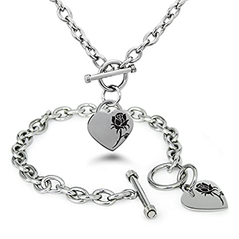Stainless Steel Enchanting Rose Heart Charm, Bracelet and Necklace Set