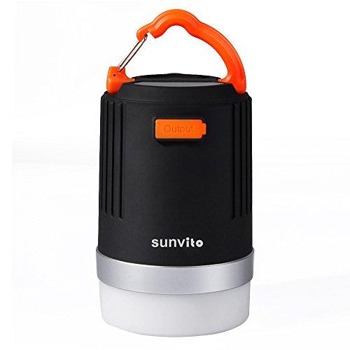Sunvito Linterna del Camping Brillante 2 en 1 LED Lámpara y Potencia de 10400mAh IP65 Impermeable Linterna Recargable de Emergencia-Ideal para Camping Excursión Senderismo Pesca (USB de Potencia)