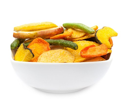 CrackersCompany Vegetable & Fruit Chips (1 x 150g in ZIP Beutel) Gemüse Früchte Chips Mischung mit Apfel, Karotte, Pfirsich, Süßkartoffel und Bohnen - schonend zubereitet - gesunde und figurbewusste Alternative